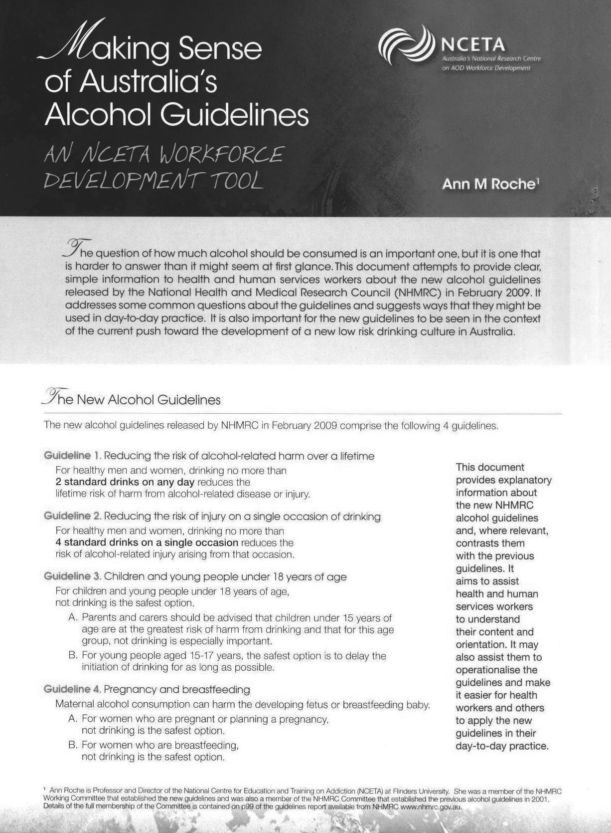 Making sense of Australia's alcohol guidelines