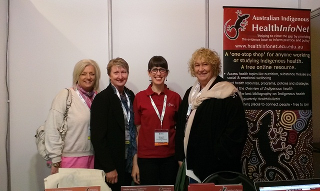 Julie Nicholson, Joanne Moore, Miranda Poynton and Roxanne Hutchinson from Derby Aboriginal Health Service, at the Australian Practice Nurses Association (APNA) conference, Pullman Hotel, Albert Park, Melbourne, 3 May 2013: