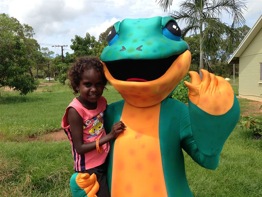 Milpa the goanna is the trachoma program mascot and a winner with the kids